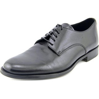 Theory Etten Men  Round Toe Leather Black Oxford