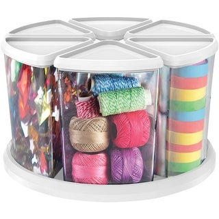 """Rotating Organizer W/(6) 6"""" Canisters-11.1""""X11.1""""X6.6"""" White"""