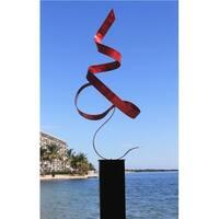 "Statements2000 Red Modern Metal Garden Sculpture Indoor/Outdoor Yard Decor by Jon Allen - Red Perfect Moment - 48"" x 17"" x 14"""