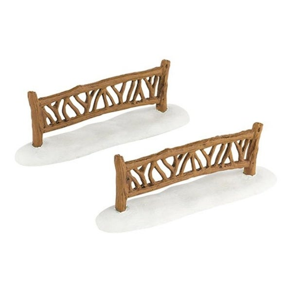 "Department 56 Snow Village ""My Garden Fence"" 2-Piece Accessory Set #4033839 - brown"