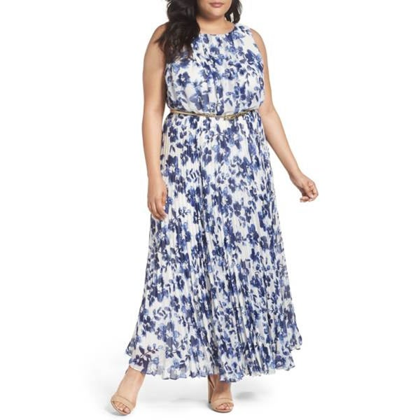 d66dc4b9c4 Shop Eliza J Belted Floral Maxi Dress, Blue/White, 18W - Free Shipping  Today - Overstock - 20657232