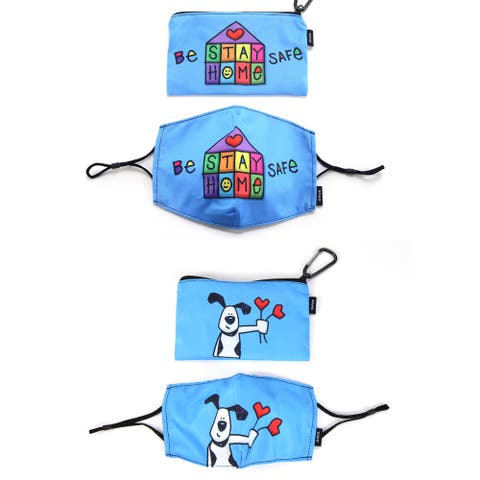 """Ed Heck 4-Piece Adult Cloth Face Mask & Travel Pouch Set - 7"""" X 5 3/8"""""""