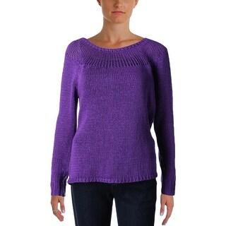 Lauren Ralph Lauren Womens Pullover Sweater Knit Ribbed Trim