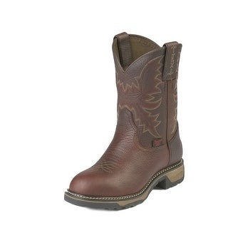 Tony Lama Work Boots Boys Kids Western Stitched Round Toe Brown TW903Y