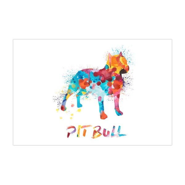Pit Bull Dog and Cat Watercolor Splatter Art Matte Poster 36x24
