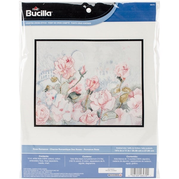 """Rose Romance Counted Cross Stitch Kit-14""""X11"""" 14 Count"""