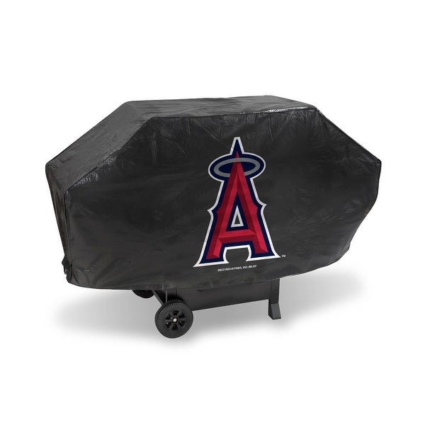 """68"""" x 35"""" Red and Black MLB Los Angeles Angels Deluxe Outdoor Grill Cover - N/A"""