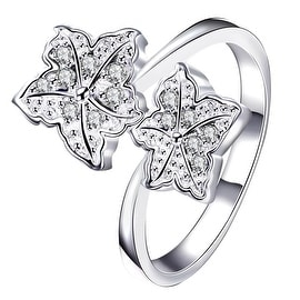 Duo-Classic Crystal Floral Petals Classic Ring