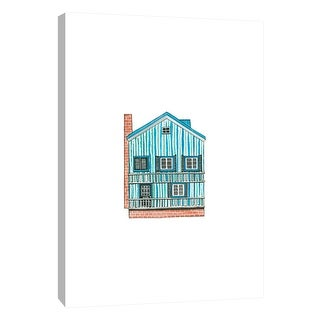 """PTM Images 9-105586  PTM Canvas Collection 10"""" x 8"""" - """"Little Striped Houses Brick"""" Giclee Houses Art Print on Canvas"""