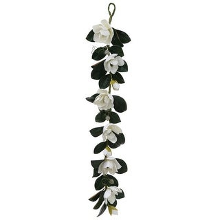 5' White Magnolia Flower and Leaves Artificial Silk Floral Garland - Unlit