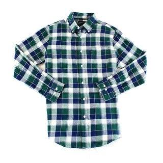 John Ashford NEW Green Blue Mens 2XL Plaid Flannel Button Down Shirt