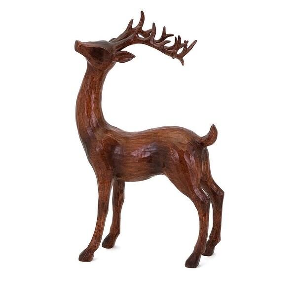 "17.5"" Natural Distressed Wood Decorative Standing Reindeer Sculpture - brown"