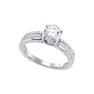 10k White Gold Round Natural Diamond Solitaire Womens Bridal Wedding Engagement Ring 1.22 Cttw