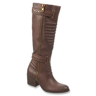 Carlos by Carlos Santana Womens Vesta Closed Toe Knee High Motorcycle Boots