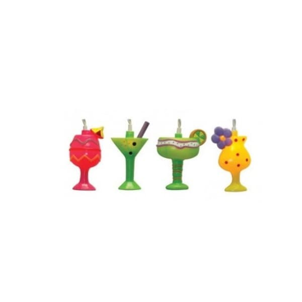 Set of 10 Happy Hour MIxed Cocktail Party Patio Christmas Lights - White Wire - multi-colored