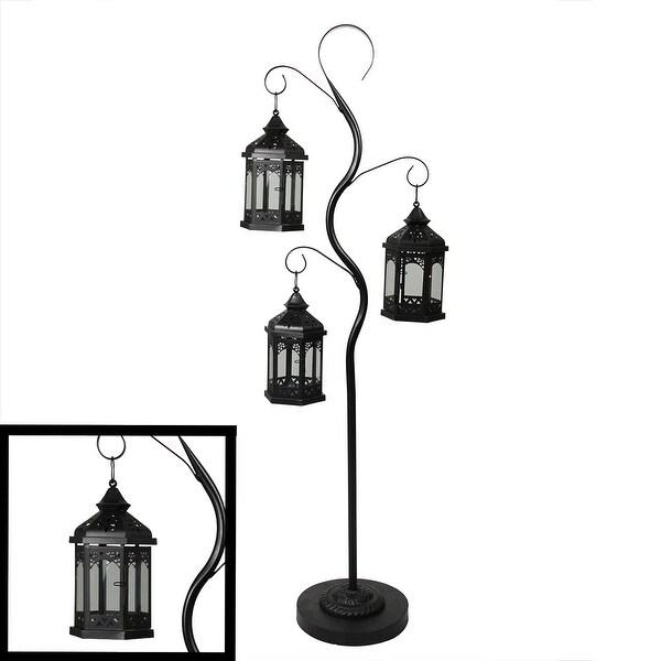"51"" Rustic Black Pillar Candle Holder Tree with 3 Decorative Lanterns"