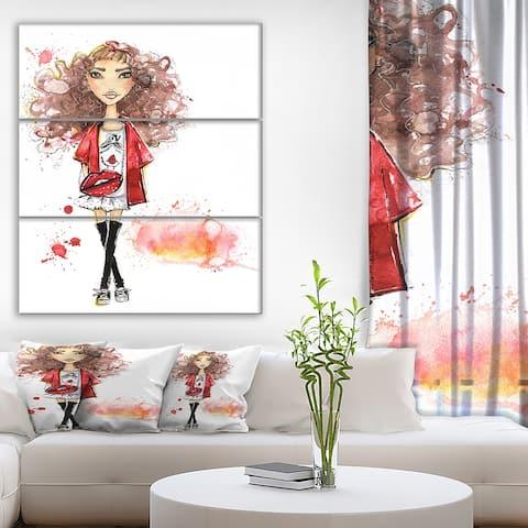 Designart 'Fashionable teenage girl' Glamour Print on Wrapped Canvas set - 28x36 - 3 Panels