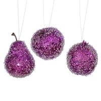 3ct Purple Beaded, Sequin and Glitter Pear, Apple and Pomegranate Fruit Christmas Ornaments