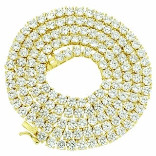 """Tennis Chain 24"""" Simulated Diamond Iced Out Necklace Gold Tone 3mm"""