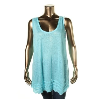 Calvin Klein Womens Linen Raw Hem Tank Top