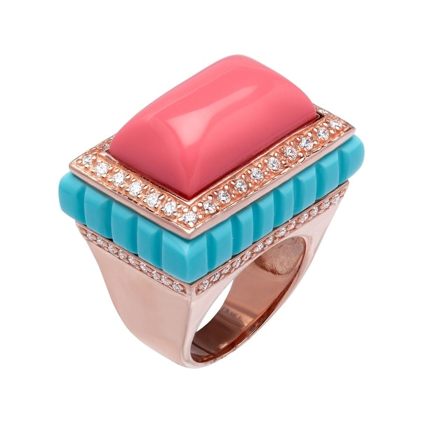 Cristina Sabatini Moneglia Ring with Cubic Zirconia in 18K Rose Gold-Plated Sterling Silver - White