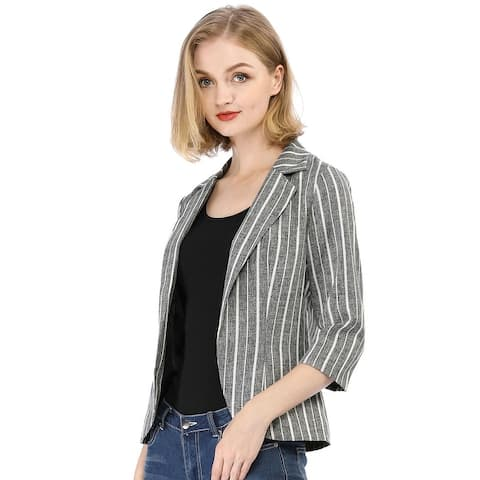 Women Striped 3/4 Sleeves Open Front Notched Lapel Blazer