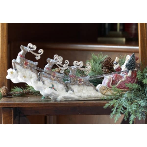 """Pack of 2 Frosted Santa Claus in Sleigh with Reindeer Christmas Table Top Figures 15"""""""