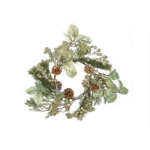 """15"""" Gold Glitter Red Holly and Frosted Pine Cone Christmas Wreath - Unlit"""