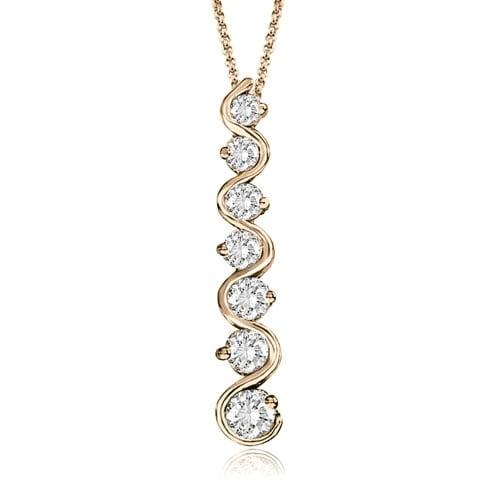 1.00 cttw. 14K Rose Gold Round Cut Diamond Seven-Stone Journey Pendant