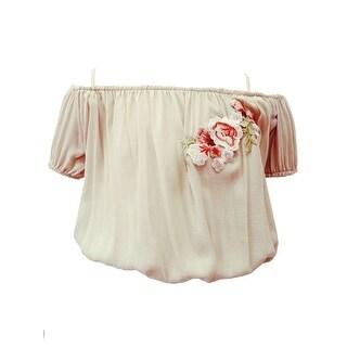 Little Girls Mocca Off Shoulder Embroidered Patch Short Sleeve Blouse