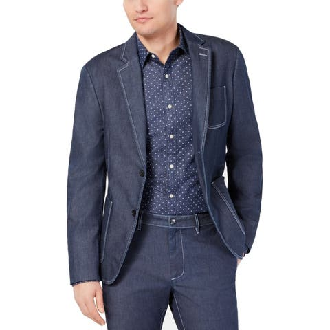 Michael Kors Mens Blue Size 44R Chambray Two Button Blazer Jacket