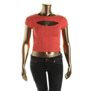 Material Girl Womens Juniors Crop Cut-Out Pullover Top