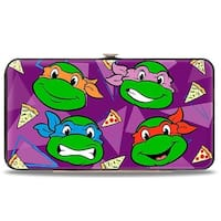 "Classic Teenage Mutant Ninja Turtles Faces + I ""Pizza Heart"" Tmnt Purple Hinge Wallet - One Size Fits most"