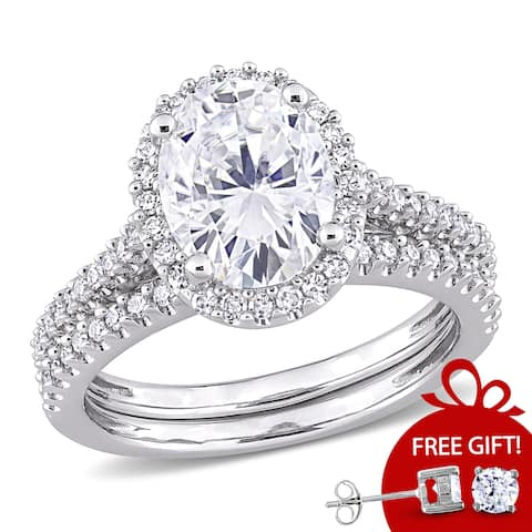Oval 2ct TGW Moissanite and 1/3ct TDW Diamond Bridal Set in 14k White Gold by Miadora