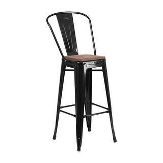 "Offex 30"" High Bistro Style Black Metal Barstool with Back and Wood Seat"