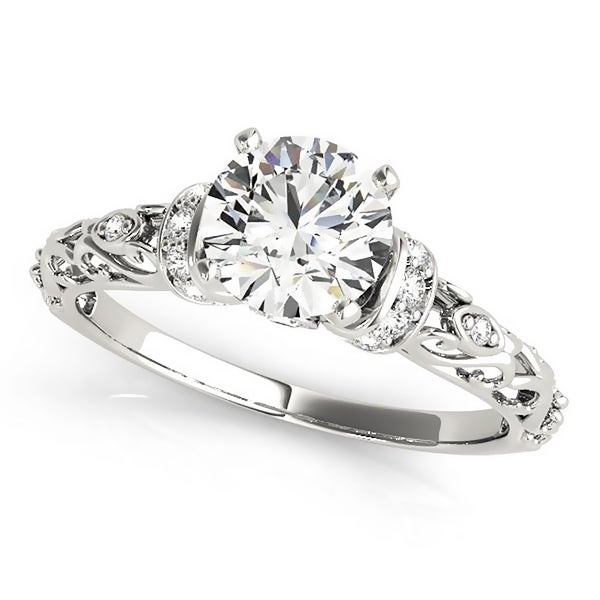 Auriya 14k Gold 1 1/2ct Moissanite and 1/8ct Diamond Engagement Ring. Opens flyout.