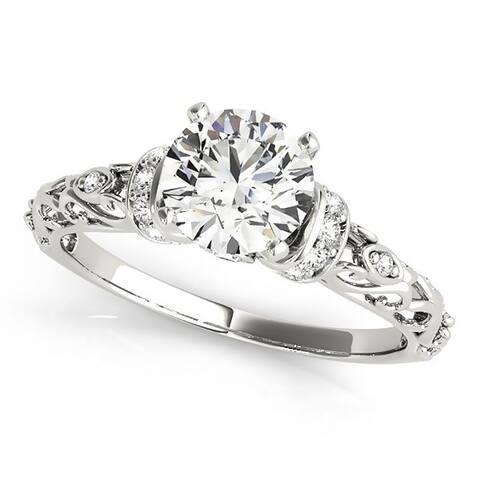 Auriya 14k Gold 1 ct. Vintage Moissanite and Diamond Engagement Ring 1/8ctw