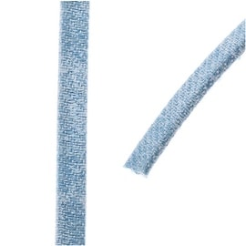 Faded Denim Cord, Flat 5x2mm Strand, Sold By The Foot, Light Denim Blue