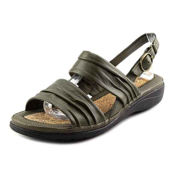 Hush Puppies Minetta Keaton Women WW Open-Toe Leather Green Slingback Sandal