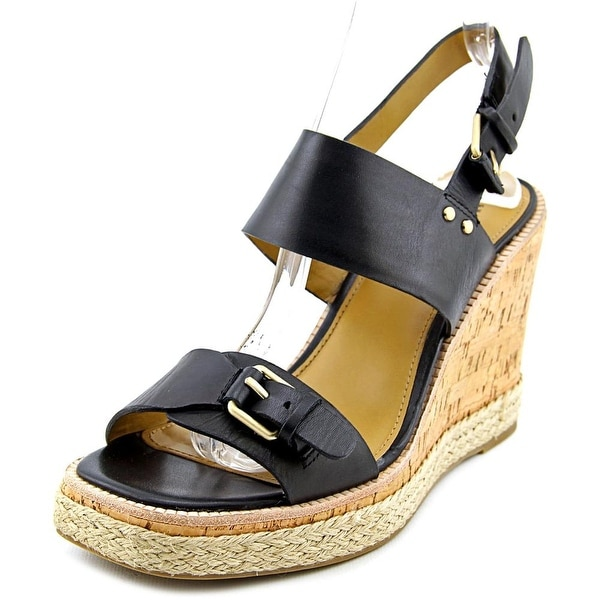 GH Bass & Co Tyra Women Open-Toe Leather Black Slingback Sandal