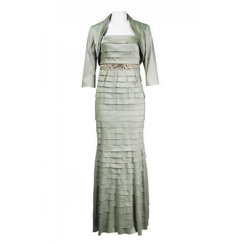 Adrianna Papell Strapless Embellished Empire Waist Satin Shutter Dress, Green 12