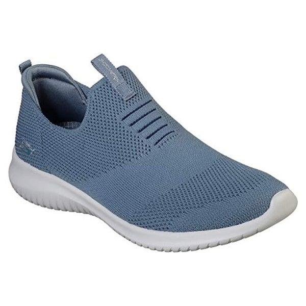 Skechers Ultra Flex First Take Womens Slip On Walking Sneakers Slate 7.5