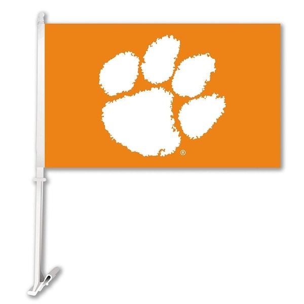 Bsi Products Inc Clemson Tigers Car Flag With Wall Brackett Car Flag
