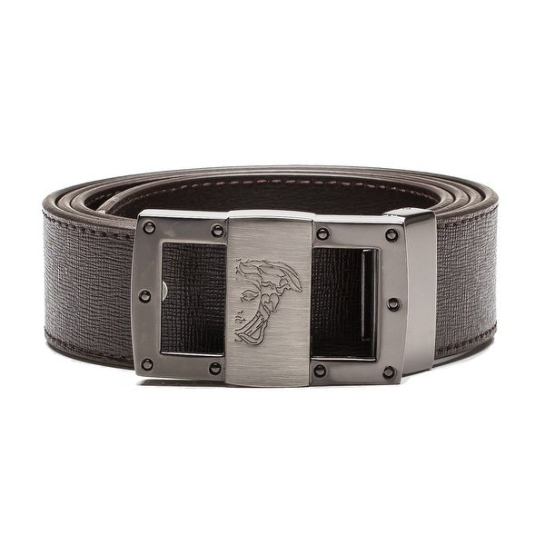 Versace Collection Men's Medusa Steel Buckle Saffiano Leather Belt Brown