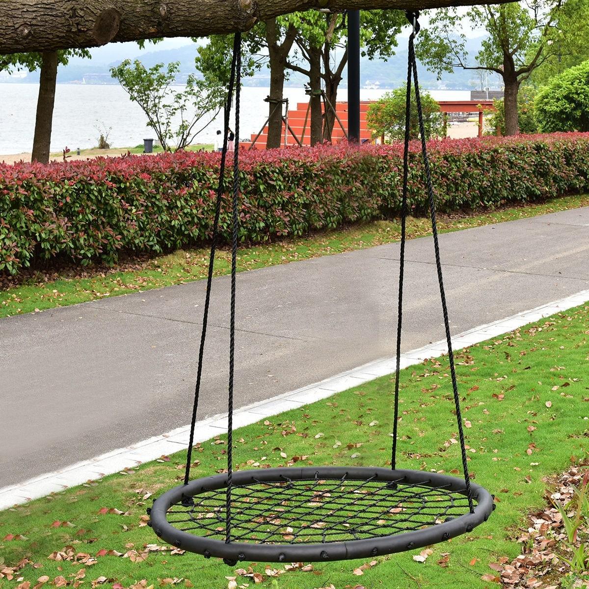 Costway 40'' Kids Tree Round Swing Net Outdoor Garden Children Toddler Hanging Rope Nest thumbnail