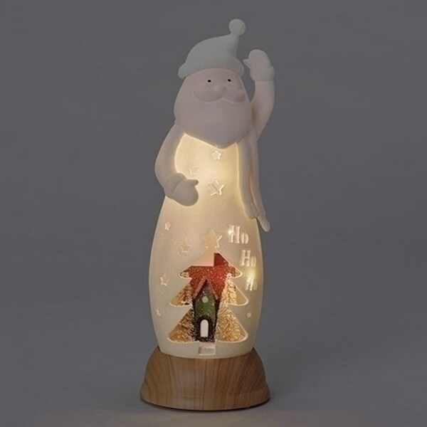 """Pack of 2 Red and White Santa Claus Tabletop Figures with Tree Scene - LED Lights 13"""""""
