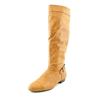 Style & Co Pettra Wide Calf Women Round Toe Leather Tan Knee High Boot