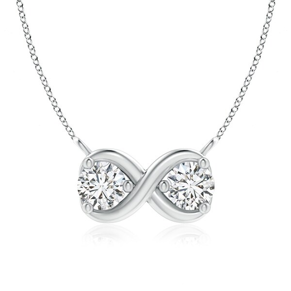 Angara 4.1mm Double Diamond Infinity Pendant Necklace in 14K White Gold - White H-I