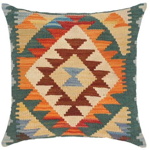 Rustic Emerson Hand-Woven Turkish Kilim Throw Pillow