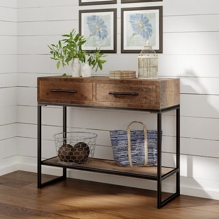 Link to Carbon Loft Kremer Brown Rustic Lightly Distressed Console Table Similar Items in Living Room Furniture